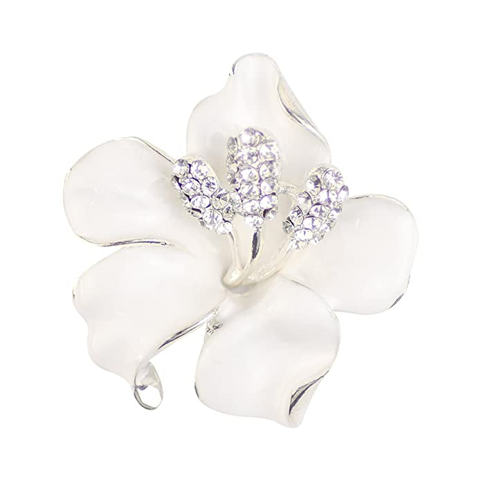 Vintage Style Jewelry, Retro Jewelry Merdia Brooch Pin for Women Flowers Brooch with Created Crystal White 29.8g $8.90 AT vintagedancer.com