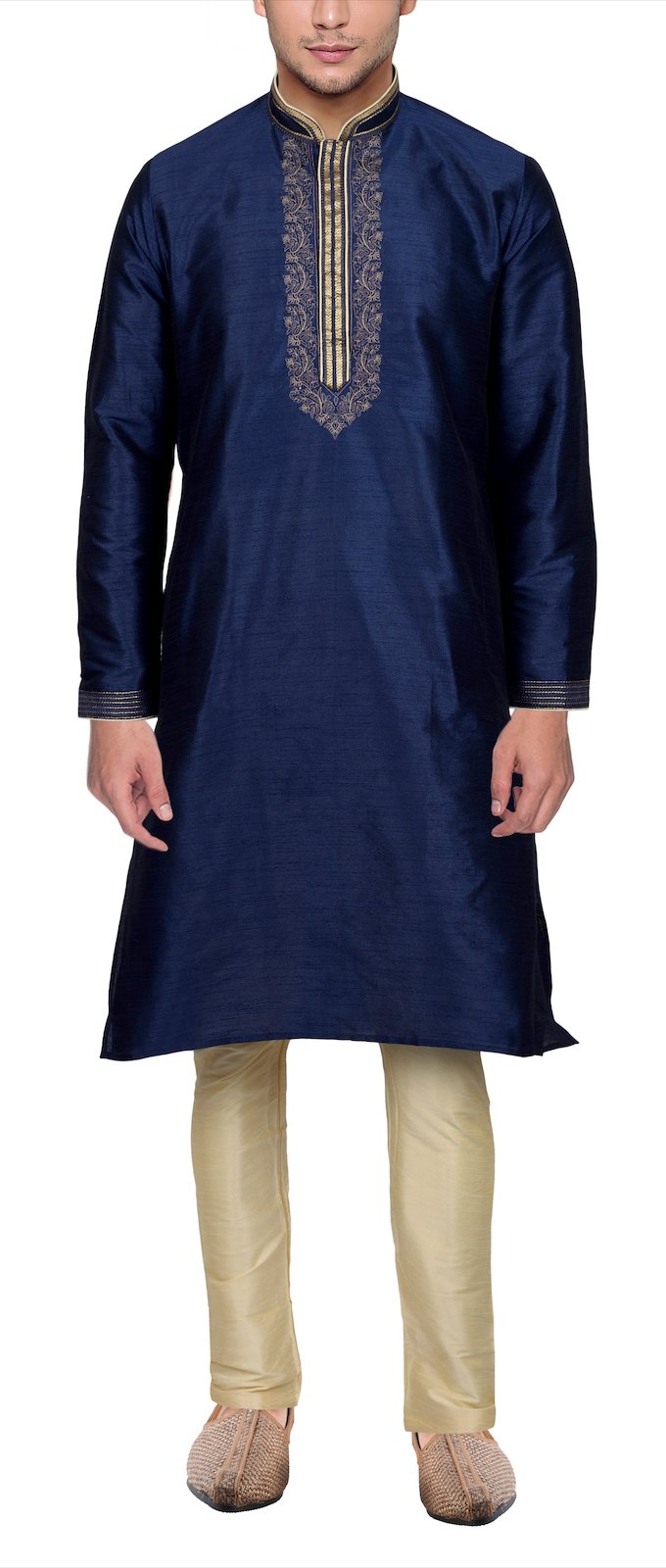 Maharaja Mens Raw Silk Embroidered Festive Kurta Pyjama Set in Blue [MSKP015-40]