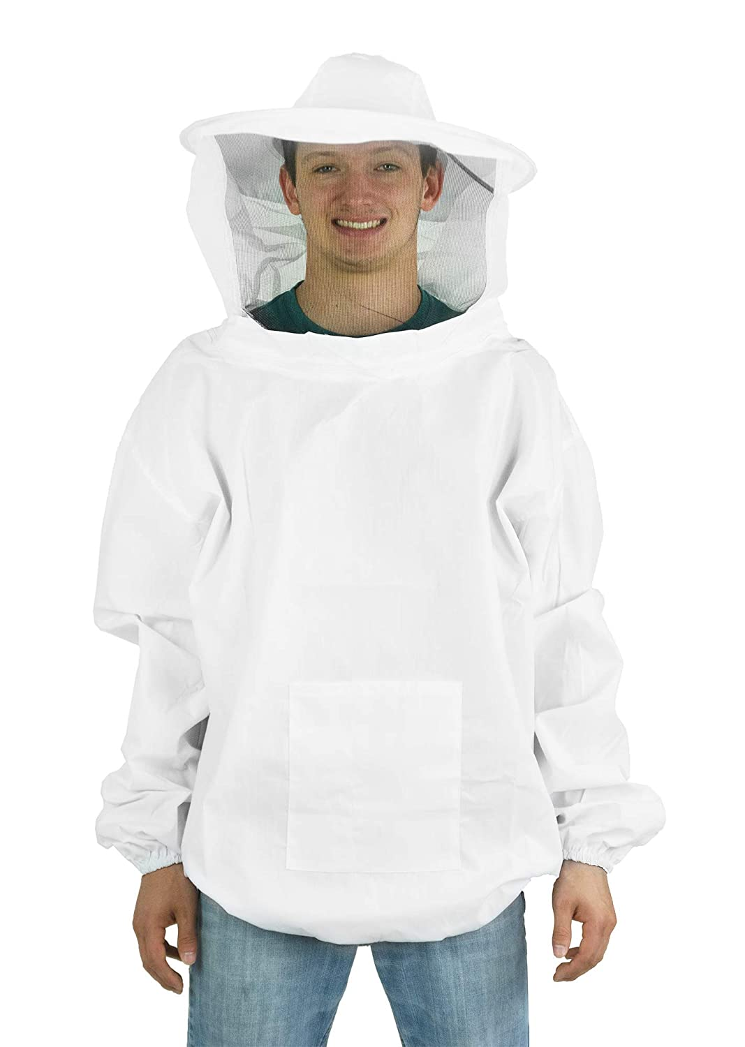 New Professional White Medium/Large Beekeeping/Bee Keeping Suit, Jacket, Pull Over, Smock with a Veil by VIVO (BEE-V105)