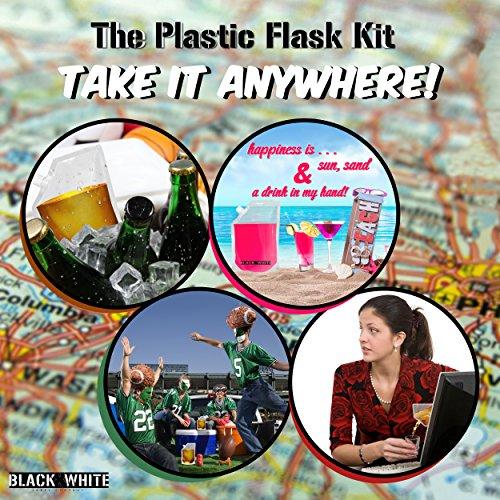3 White Label Premium Plastic Flasks Cruise Kit