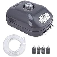 ZOIC 15W 220-240V 4 Outlets Adjustable Aquarium Oxygen Air Pump for Fish Tank 4 * 2.5L/Min(MAX)+Air Stone+ Air Tube