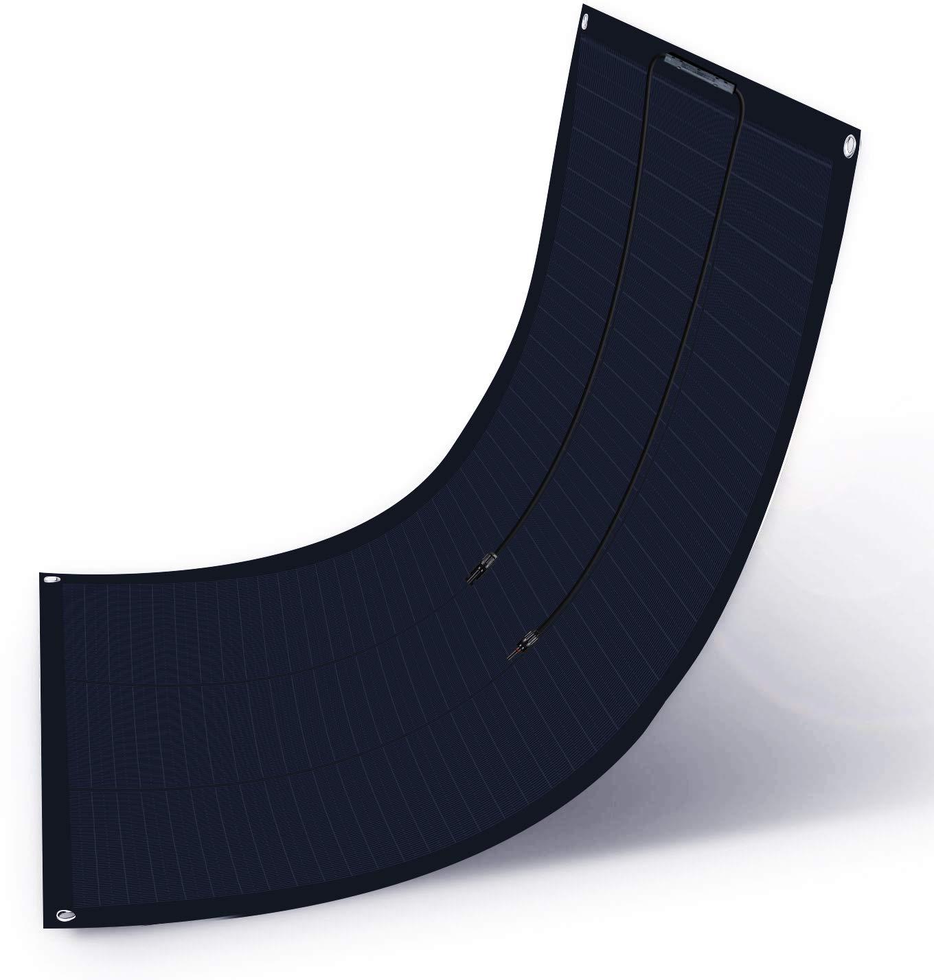 ECO-WORTHY Panel solar monocristalino extremadamente flexible de 100 120 vatios y 12 voltios Panel de diseño de tejas ETFE para carga de batería/barco/RV (Panel solar flexible de 100 vatios)