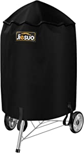 JIESUO BBQ Grill Cover for Weber Charcoal Kettle: Heavy Duty Waterproof 22 Inch Weather Resistant Barbeque Grill Covers