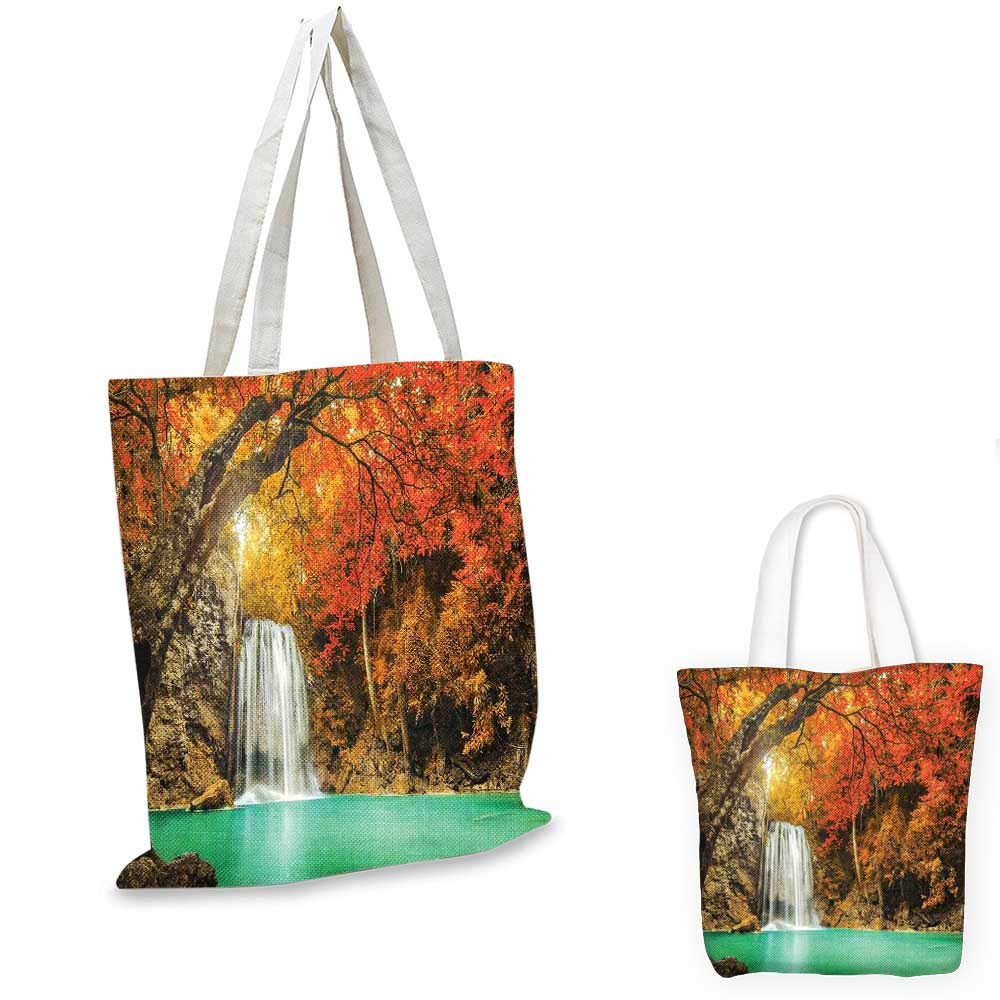 Waterfall canvas messenger bag Falling Stream Waterfall Natural Pond Thailand Vacation Theme Print foldable shopping bag Almond Green Brown White 14x16-11