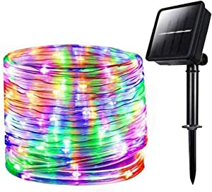 Chinety Solar String Lights Outdoor Rope Lights, 100 LED 8 Modes Solar Powered Outdoor Waterproof Tube Light Copper Wire Fairy Lights for Garden Fence Patio Yard Party Wedding Decor (Multicolor)
