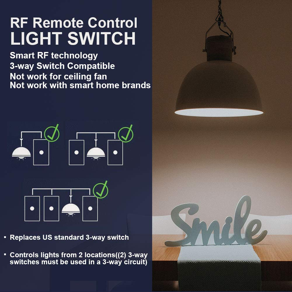 Livolo Wireless Remote Control Light Switches With Tempered Glass Switch Back Box Particularly Multigang In 2way Or 3 Panel 100 Rf Range No Interference Way 2 Gang Electrical On Off Wall