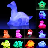 Jomyfant Bath Toys, Light Up Floating Rubber Toys(12 Packs), Flashing Color Changing Light in Water,Baby Infants Kids Toddler