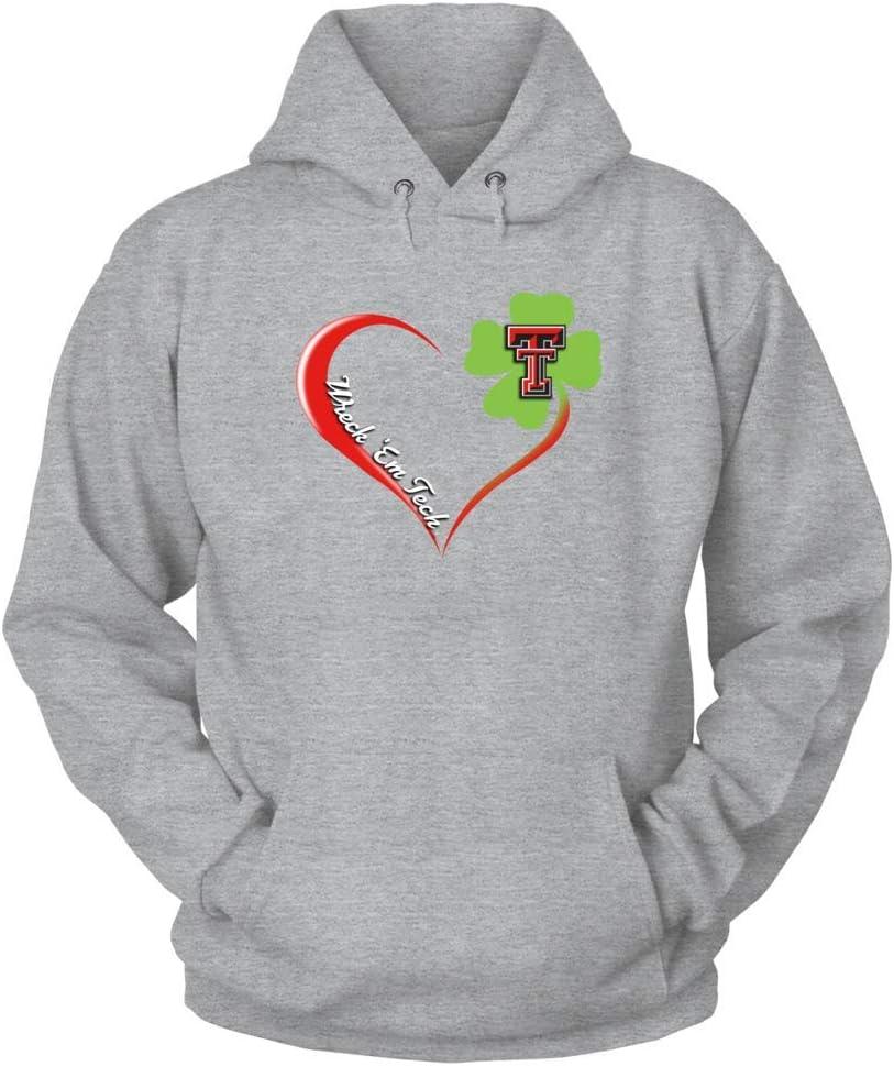 Shamrock Heart St Patricks Day FanPrint Texas Tech Red Raiders T-Shirt