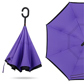 Yeying123 Paraguas Invertido Doble Plegado A Prueba De Viento, Paraguas De Coche Reversible Autoportante A