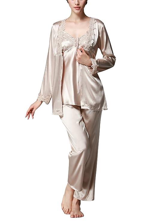 Dolamen Womens Nighties Satin and Pyjamas Set 3-In-1 Pyjamas Set Nightwear at Amazon Womens Clothing store: