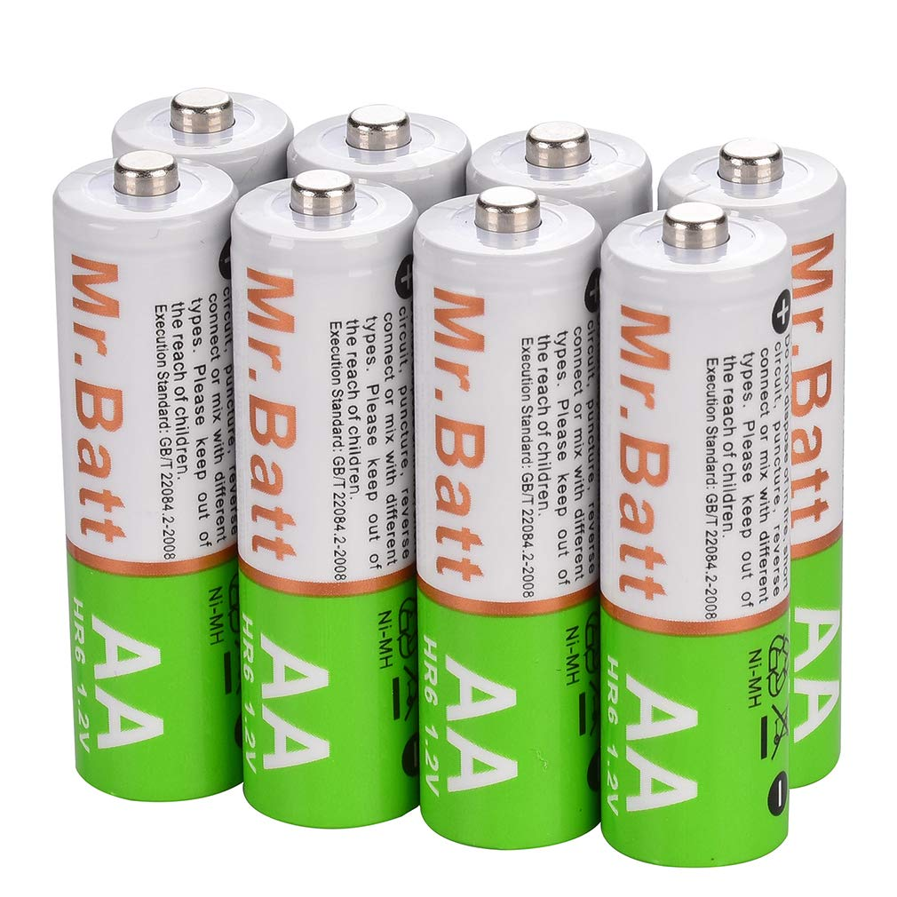 Mr.Batt NiMH AA Rechargeable Batteries Pre-Charged 1600mA (8 Pack)