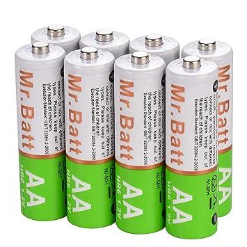 Amazon.com: Batería recargable de 1600 mA. paquete de 8 ...