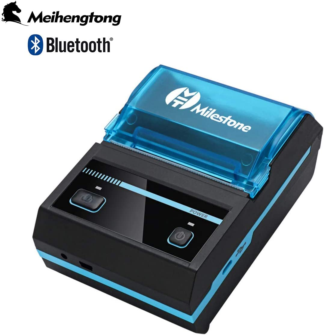 Mini Receipt Printer Bluetooth, Meihengtong Rechargeable Thermal Printer Bluetooth Wireless 58mm for Bar QR Codes Receipt, Portable Mobile Label ...