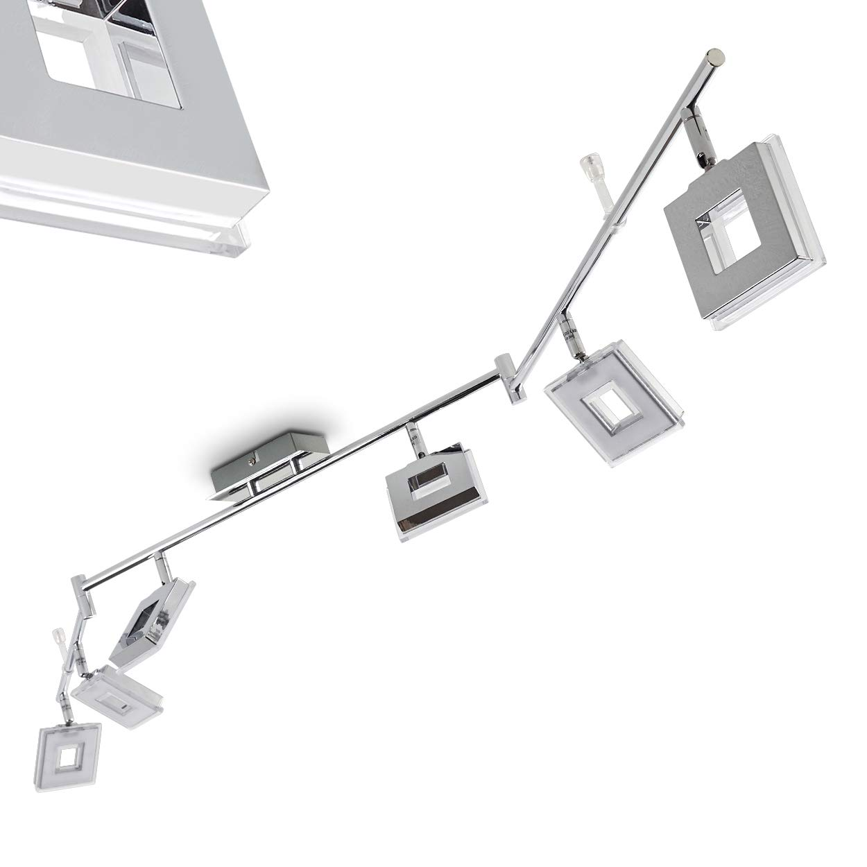 Barre de spots LED Krakau - 6 x 4,5 Watt - 350 lumen par spot - Blanc chaud [Classe énergétique A++] hofstein H166773