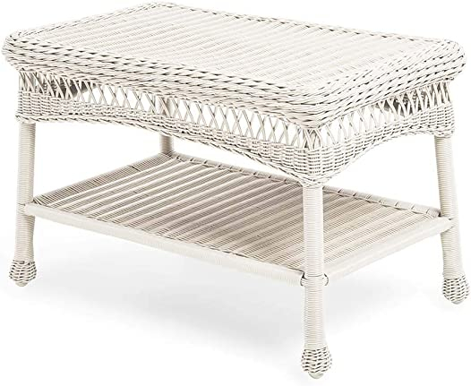 Plow Hearth 39006-BWH Easy Care Outdoor Resin Wicker Coffee Table