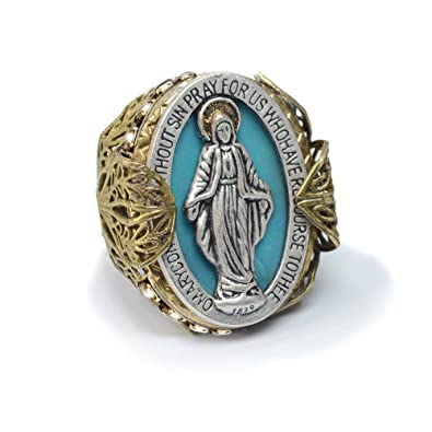Good Miraculous Medal Virgin Mary Prayer Bible Verse Religious Ring