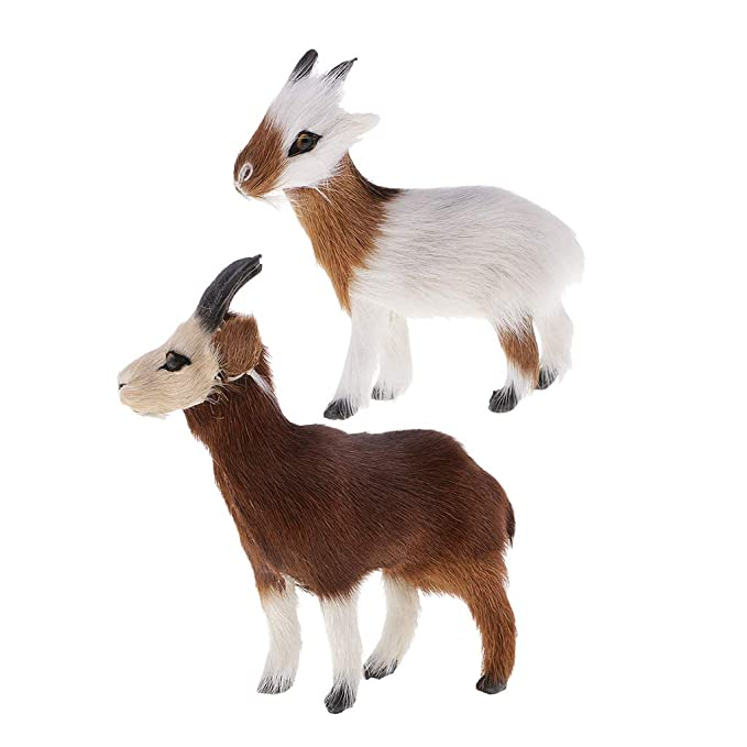 "4/"" Collectible Furry Goat Figurine Decoration Statue Model Figure Crafts B"
