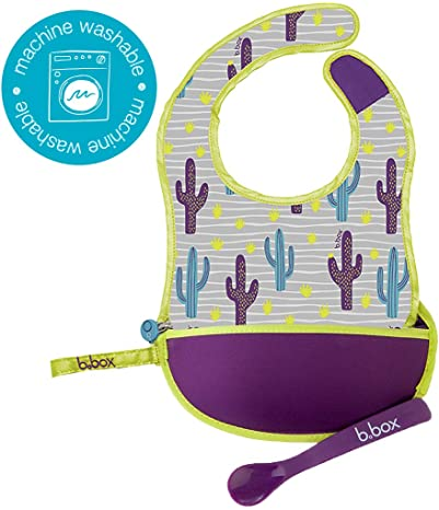 b.box Travel Bib and Flexible Soft-Bite Spoon, Cactus Capers