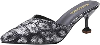 Corriee Women's Spring Summer Pointed Toe Slip On Snakeskin Slippers Ladies Dress Sandals Wedding Party Shoes Black