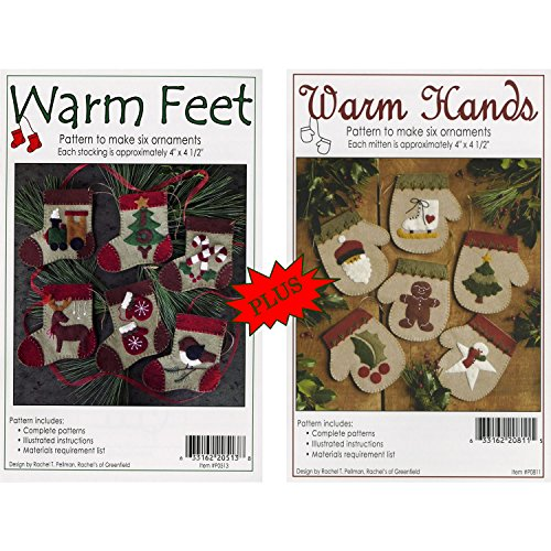 (Bundles of Warm Hands & Warm Feet Christmas Ornament Felt Applique Patterns, Twelve (12) Designs)