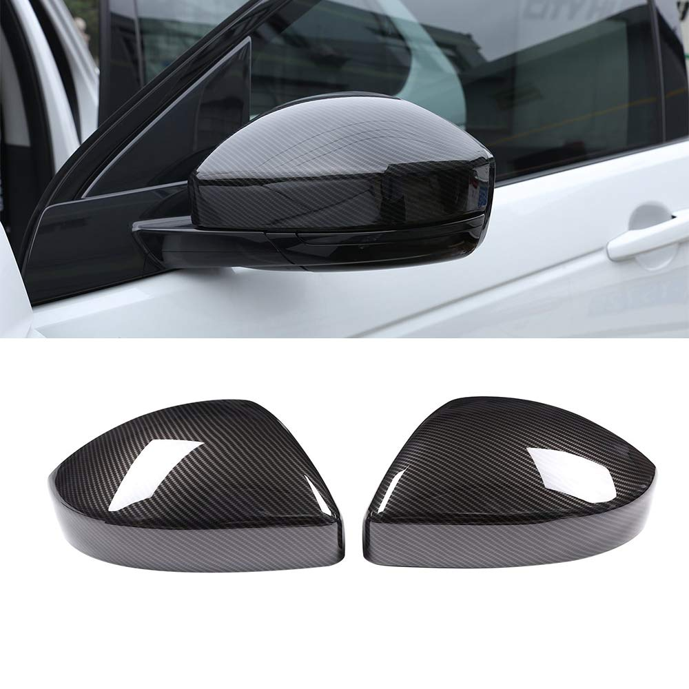 Carbon Fiber Style Side Rearview Mirror Cap Cover Trim 2Pcs For Discovery Sport 15-18 Evoque Velar 16-18 F-Pace 17-18