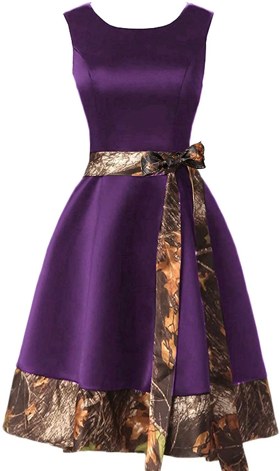 Grape Jingliz Short Camo Homecoming Dresses Satin Bridesmaid Dress Prom Gown