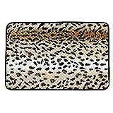 Leopard Print Floor Mat Area Rug Carpet 60cm x 40cm Black Brown