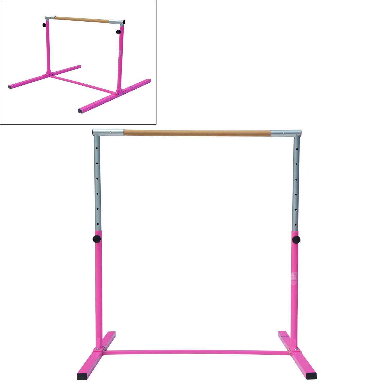 Modern-depo ジュニア プロ 体操 キップバー 厚い折りたたみマット付き 8フィート/10フィート 調節可能 (3フィート-5フィート) トレーニング 水平バー ブナ材 ピンク B07GKSW7F4 pink bar 4.4'L x 4.6'W x (3' - 5')H