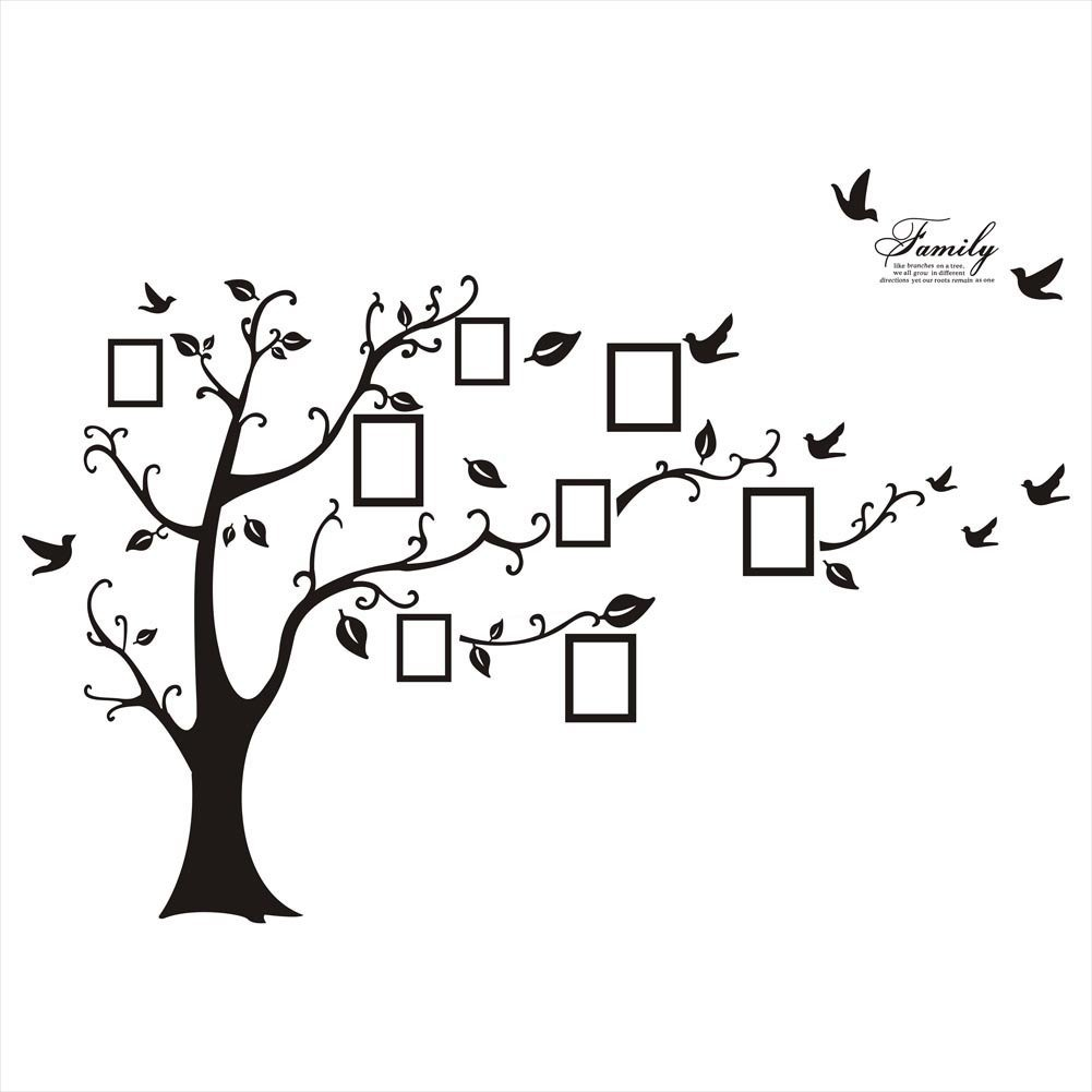Wall Décor Stickers - YYY Family Tree with Birds and Photo Frames Art Sticker