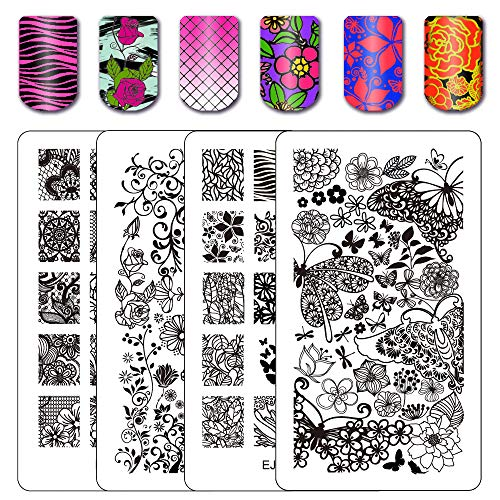 Flower Nail Stamping Plates Wonders of Life Stamping Nail Art Image Plate Nail Stamping Kits 2 Count 4 Sides EJB-01&02 ()