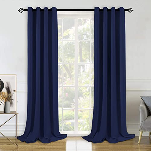 BGment Blackout Curtains for Bedroom – Grommet Thermal Insulated Room Darkening Curtains for Living Room, Set of 2 Panels 55 x 96 Inch, Navy Blue