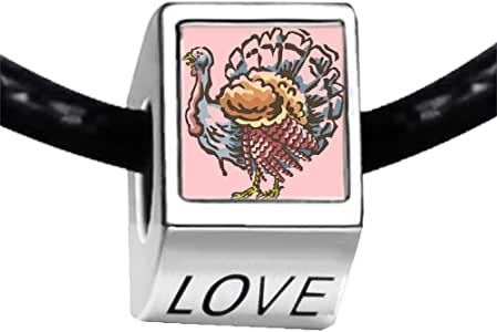 Chicforest Silver Plated big Thanksgiving turkey clipart Photo LOVE Charm Beads Fits Pandora Bracelets