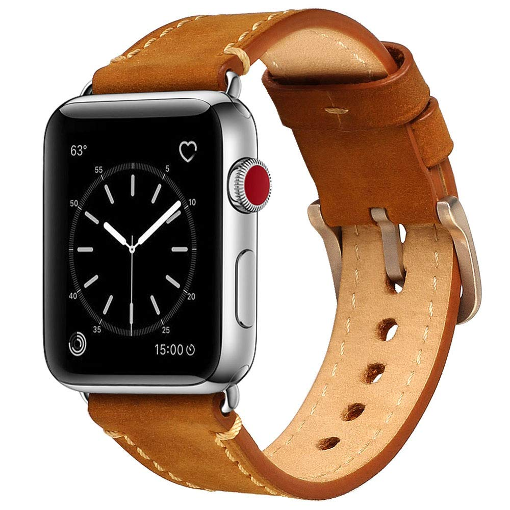Compatible Apple Watch Band 42mm Mkeke Genuine Leather iWatch Bands Vintage Brown by Mkeke (Image #1)