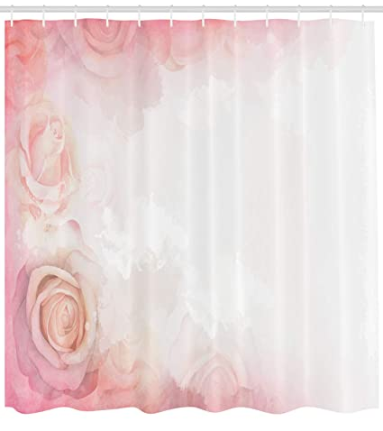 Lunarable Dusty Rose Shower Curtain Fantasy Abstract Romantic Framework Delicate Blooms Retro Style Dreamlike