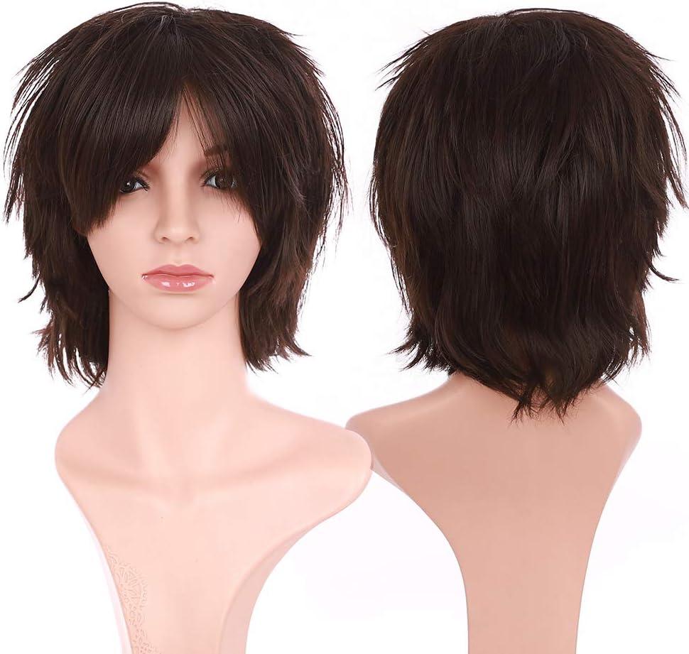 unisex color marr/ón oscuro Peluca S-noilite de pelo corto