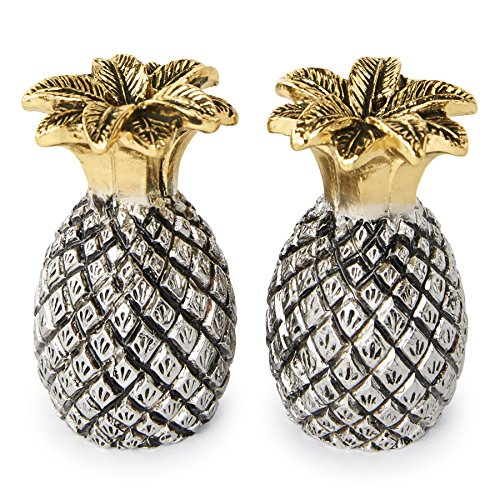 Mud Pie Pineapple Salt and Pepper Shaker Set, Silver/Gold