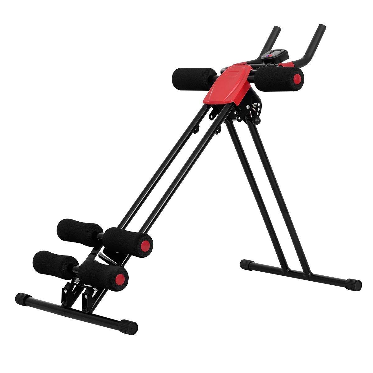 Goplus Ab Trainer Abdominal Trainer Ab Vertical 5 Minute Shaper Waist Trainer Core Toner Ab Cruncher Fitness Machine Equipment W/LED Counter