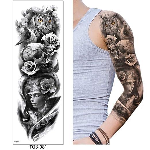 adgkitb Etiqueta engomada Temporal del Tatuaje del Brazo Completo ...
