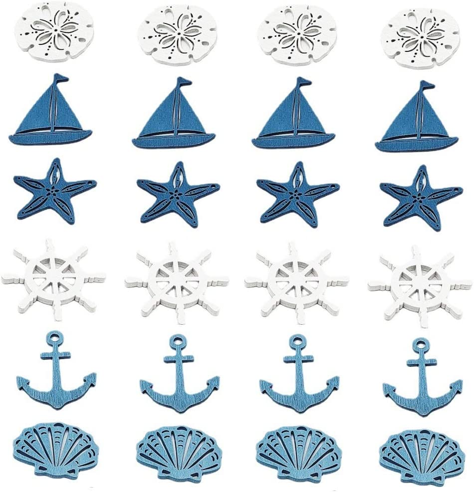 CheeseandU 24Pack Nautical Wooden Coastal Wall Hanging Ornaments Coastal Cruise Ship Miniature Beach Themed Arts and Crafts Wood Cut Outs Sea Ring, Anchor, Captain Wheel, Fish, and Starfish for Home Nursery Kindergarten Wall Decor Crafts