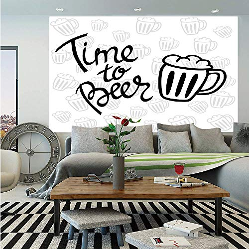 Autumn Accent Mug - SoSung Man Cave Decor Removable Wall Mural,Time to Beer Quote Cartoon Style Hand Drawn Mugs Foamy Lager Ale,Self-Adhesive Large Wallpaper for Home Decor 66x96 inches,Silver White Black