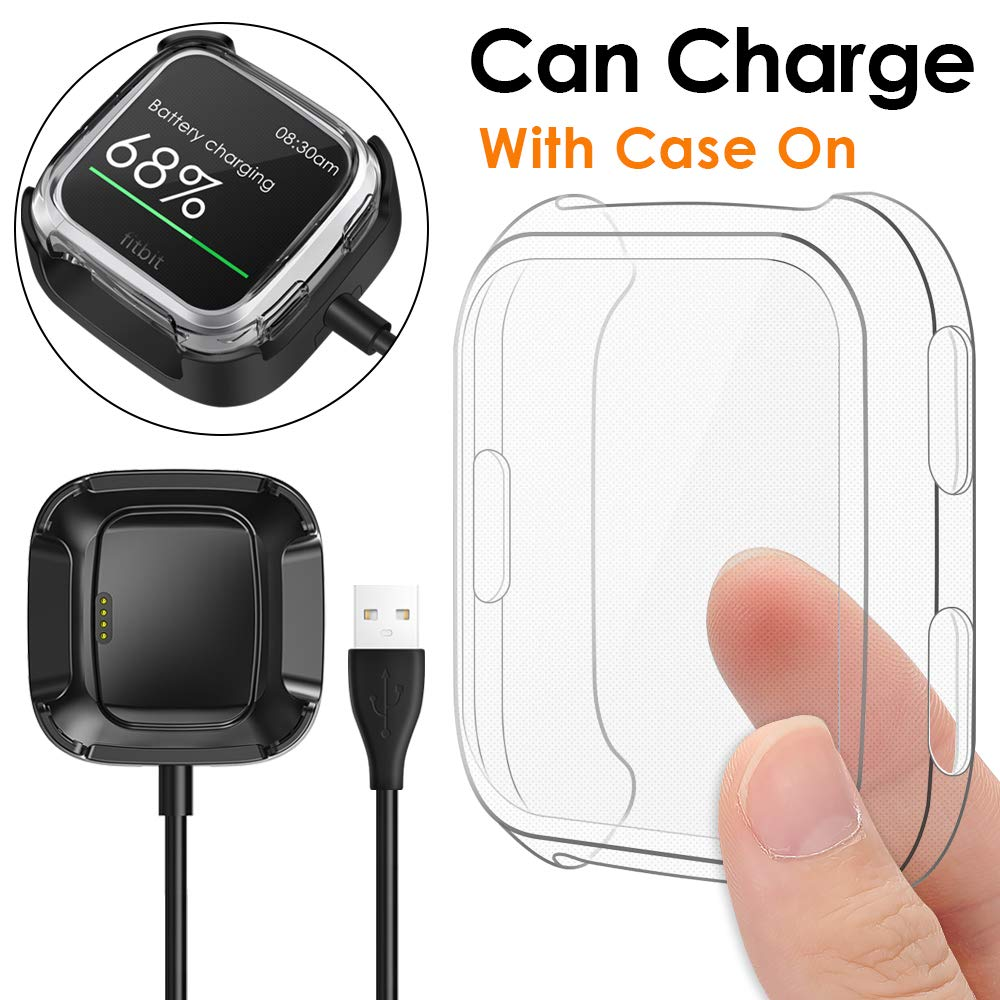 KIMILAR Screen Protector Case Charger Compatible Fitbit Versa Smartwatch, TPU Plated Full Coverage Bumper Replacement case Unique Charger Dock Charging Cable (Can Charge Case On) Clear