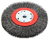 Forney 72761 Wire Bench Wheel Brush, Narrow Face Coarse Crimped with 1/2-Inch and 5/8-Inch Arbor, 5-Inch-by-.014-Inch