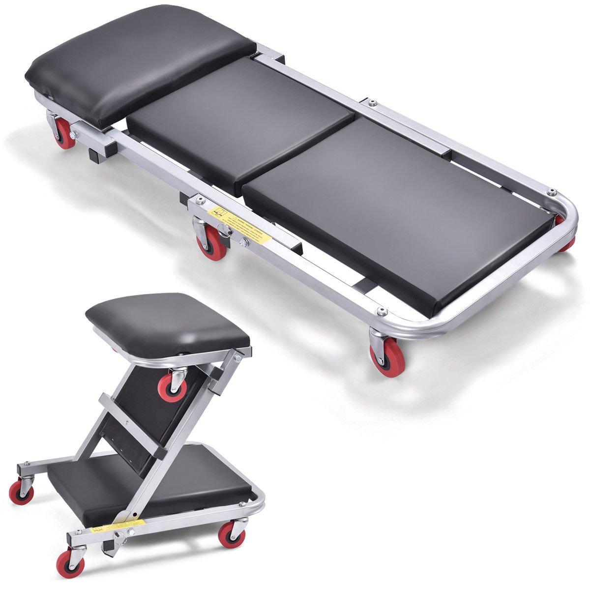 Goplus 40'' Foldable Z Creeper Seat Rolling Chair Mechanics Garage 2 in 1 Work Stool