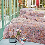 Wake In Cloud - 3pcs Bohemian Comforter Set Queen, 100% Cotton Fabric with Soft Microfiber Fill Bedding, Boho chic Mandala Pattern Printed (Queen Size)