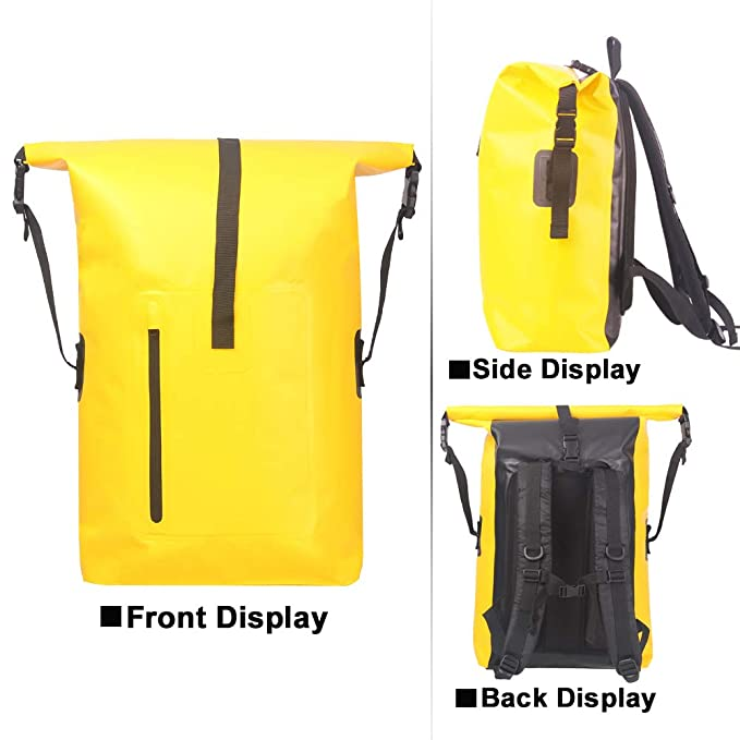 Dry Backpack Waterproof Roll Top Bag for Kayaking Rafting Boating Swimming  Camping Hiking Fishing Floating Beach Outdoor Water Sports (yellow)  ... c0f76083ae6bd