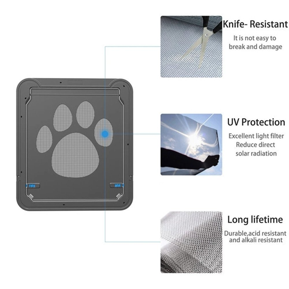 Homeself Pet Screen Door, Kitten Puppy Magnetic Self-Closing Automatic Slide Lock Mesh Window Screen Door, Lockable Safety Nets Entry Gate Protector for Small Medium Large Dogs Cats (Large) by Homeself (Image #5)