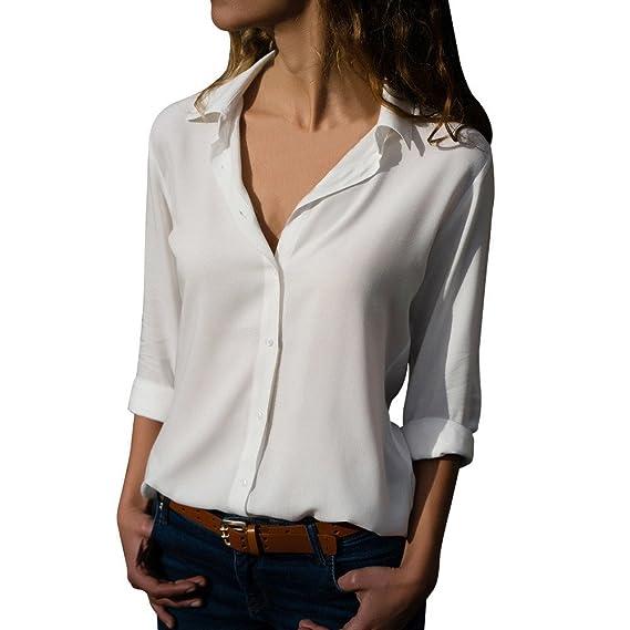AMUSTER Damen Elegante Bluse Chiffon Lange Ärmel Oberteile Elegante Mode  Hemd Top Blusenshirt Damen Frauen Chiffon 92772ea53d