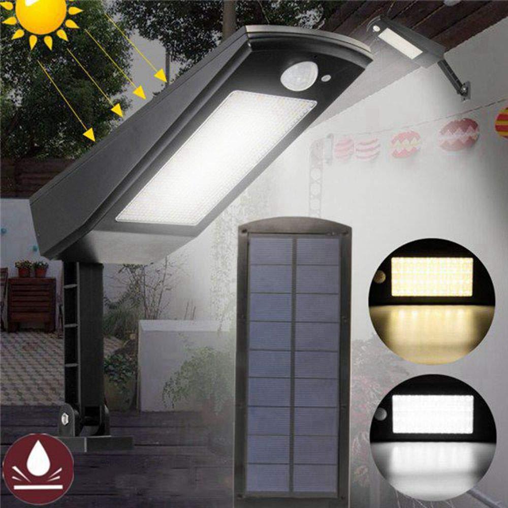ZHENWOFC 48 Lampada da giardino a luce solare impermeabile regolabile a LED a parete per strada da strada con 4 modalità Illuminazione esterna (Colore   Warm bianca)
