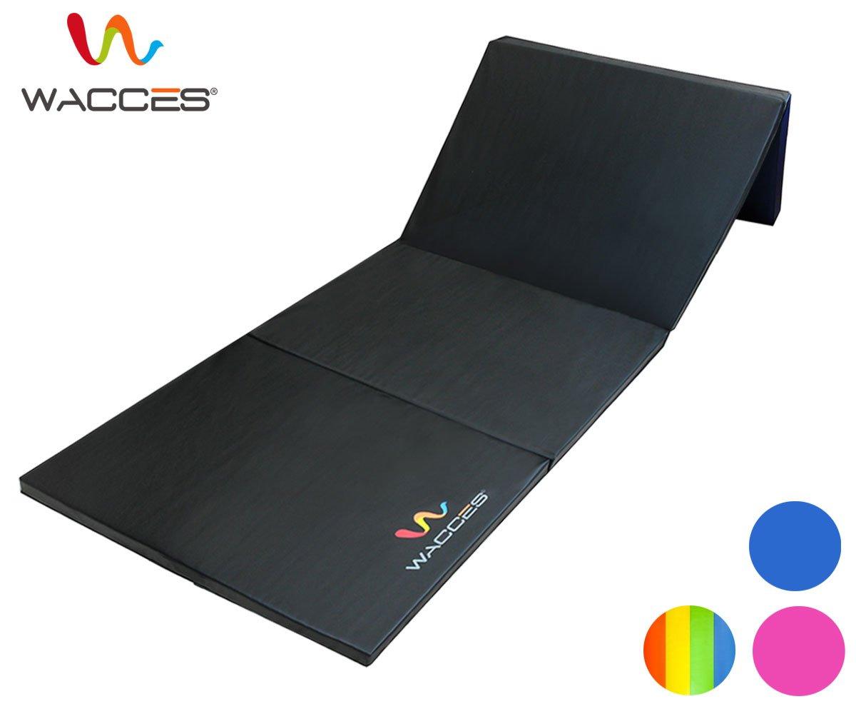 Wacces PUレザー 体操/ジム/フィットネス/エクササイズ/回転運動/格闘技用折りたたみマット B01011W550 ブラック