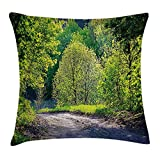 shower&home Spring Throw Pillow Cushion Cover, Path in Forest by...